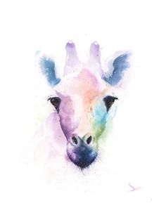 Watercolor spirit giraffe painting by artist Eric Sweet