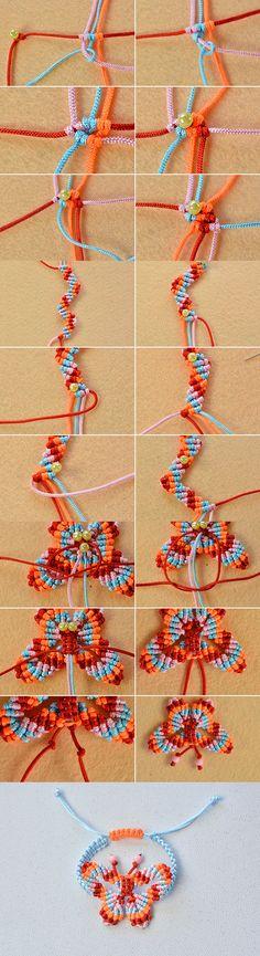 thread butterfly braided bracelet, like it? LC.Pandahall.com will share us the tutorial soon.