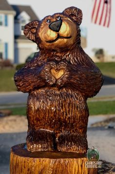 Chainsaw Carving by Paul is a professional chainsaw carver in the York PA area. Wood Carving Designs, Wood Carving Art, Wood Carvings, Wood Sculpture, Abstract Sculpture, Bronze Sculpture, Chainsaw Wood Carving, Bear Statue, Maori Art