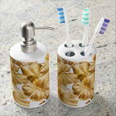 Aloha Tropical Gold Glitter Monstera Leaves Bath Set - metallic style stylish great personalize