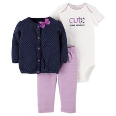 Baby Girls' Purple Dot Cardigan Set - Just One You™Made by Carter's®