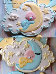 Sleeping baby cradled in the moon against a night sky, decorated cookie, by Ali'sSweetTooth http://cakecentral.com/g/i/3006060/a/3349242/cookies/