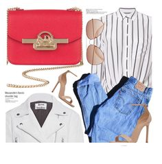 """""""Red Bag"""" by mezzanotteofficial ❤ liked on Polyvore featuring Acne Studios, Equipment, Levi's, Balmain, Yves Saint Laurent and H&M"""