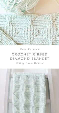 Free Crochet Blanket Pattern - Ribbed Diamond Blanket - - We love Bernat Baby Velvet! And using it with the front post and back post double crochet stitch has turned…. Easy Knitting Projects, Crochet Projects, Afghan Crochet Patterns, Knitting Patterns, Crochet Afghans, Baby Afghans, Amigurumi Patterns, Dishcloth Crochet, Crochet Pillow Pattern