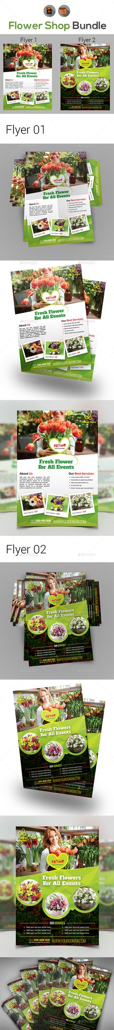 Flower Shop Flyer Bundle — Vector EPS #floral #mike • Available here → https://graphicriver.net/item/flower-shop-flyer-bundle/19298231?ref=pxcr