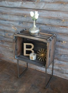 DIY Crate and Pipe Industrial Table. Great tutorial.