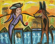 """Wolf and the Apple"" by Flea Market painter Kelly Moore of New Mexico"