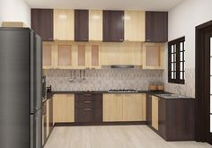 Modular U-Shaped Kitchen with Loft, Middle Cabinet and Bottom Cabinet. Made up of plywood with laminate finish. The dual color combination brings home an stunning look. Modular Kitchen yet practicality included with amaizng features adds home a empirical look. Kitchen accessories like Baskets will be charged extra. Pine Kitchen Cabinets, Kitchen Cupboard Designs, Kitchen Room Design, Kitchen Cabinet Colors, Laundry Room Design, Modern Kitchen Design, Interior Design Kitchen, Kitchen Decor, Kitchen Tile