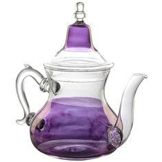 Moroccan Prestige Purple Glass Tea Pot By ($125) ❤ liked on Polyvore featuring home, kitchen & dining, teapots, kitchen, kitchen tools & utensils, moroccan tea pot, moroccan teapot, glass tea pot, purple teapot and hot tea pot
