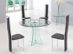 Astoria Round Clear Glass Dining Table with 4 Dining Chairs A Glass Round Dining Table, 4 Dining Chairs, Dining Room Furniture, Dining Room Table, Round Glass, Trendy Furniture, Cool Furniture, Country Dining Rooms, Dining Room Design