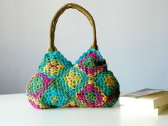 New Season Spring Crochet bag - Summer Bag Afghan, Granny Square Handbag - Shoulder Bag