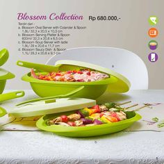 Blossom Collection  Terdiri Dari :  A. Blossom Oval Server with Cclancer & Spoon 1,8L/32,3×20,5×10,3 cm B. Blossom Serving Platter & Spoon 600ml/32,3×20,6×6,5 cm C. Blossom Souo Server with ladie 1,8L/28×20,6×11,7 cm D. Blossom Saucy Dsh & Spoon 1,1L/28,3×20,6×91 cm
