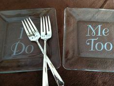 I Do Me Too Etched Glass Dessert Cake by CrystalCreekBoutique, $38.95