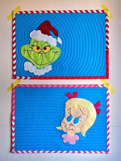 I love all things Grinch! Jessica of a little gray made these quilted placemats as part of the Holiday Craft Bash. She shares with her readers the applique pattern for the Grinch and Cindy Lou Who,… Christmas Sewing, Christmas Projects, Holiday Crafts, Christmas Ideas, Christmas Quilting, Christmas 2014, Mug Rug Patterns, Crochet Blanket Patterns, Quilt Patterns
