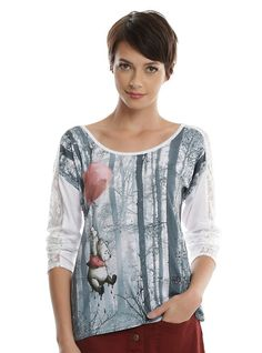 Disney Winnie The Pooh Balloon Lace Girls Long-Sleeved Top, WHITE