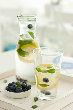 Blueberry, Mint and Lemon Flavored Water