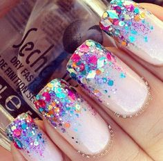 Glitter tip French manicure nails