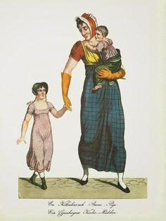 """""""En Københavnsk Barnepige"""" (A Copenhagen nursery maid), printed by G. L. Lahde. Danish, Ca 1810."""