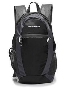 NeatPack Durable Foldable Nylon Backpack  Daypack with Security Zippers 20L Black ** Click image to review more details.Note:It is affiliate link to Amazon.