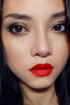 Working on a makeup look for Company magazine UK, featuring a charcoal lid with gold sparks, paired with red, RED lips
