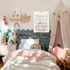 Inspirational girls bedroom decor with kids rattan bed, scalloped wall paint in Farrow & Ball. Be Kind art print with framed cockatoo wall art. Child's reading canopy and pink corduroy beanbag with Pom Pom from Scandiborn. Rainbow decor ideas for kids Girl Bedroom Walls, Baby Bedroom, Bedroom Decor, Girls Pink Bedroom Ideas, Girl Toddler Bedroom, Kids Bedroom Ideas For Girls Toddler, Ikea Toddler Bed, Kids Bedroom Paint, Decorating Toddler Girls Room
