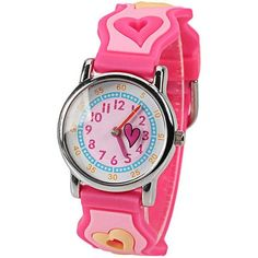 Kid's Heart Shapes Patterned Round Dial Watch w/ Numbers Hour Marks & Silicon Band - Pink