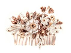 Maia Ivory, blush & rose gold Bridal Headpiece comb Silk Flowers Swarovski Crystals Hair Jewelry unique alternative