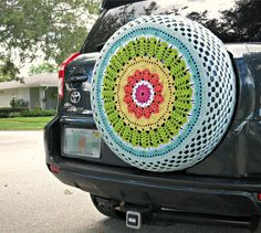 Rainbow Crocheted Spare Tire Cover Perfect by tristinandcompany, $75.00 (SOLD)