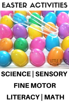 Easter early learning activities and science ideas that also include fine motor skills, math, literacy, and sensory play