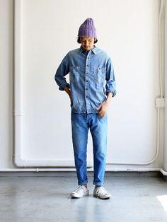 A VONTADE Indigo Corduroy Jeans (Cropped Legth) -Antique Washed-