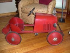 Antique Fire Engine Pedal Car with Tank Original Excellent Condition Gendron | eBay