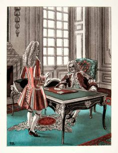 Pierre Brissaud (1885 – 1964). Louis XIV et Louis de Rouvroy, duc de Saint-Simon. Gravure photolithographique, 1959. [Pinned 5-vii-2015]