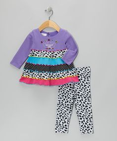 Take a look at this Purple Crown Long-Sleeve Dress Set - Infant, Toddler & Girls by Gerson & Gerson on #zulily today!
