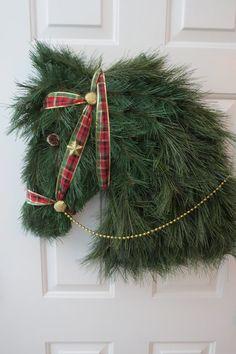 Horse Head Wreath Horse Shaped Wreath Kentucky by HorseWreaths
