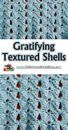 Meladora's Creations – Gratifying Textured Shells Crochet Stitch – Free Crochet Pattern and Tutorial Crochet Stitches Free, Crochet Gratis, Crochet Motifs, Crochet Blanket Patterns, Crochet Geek, Free Crochet, Crochet Baby, Stitch Patterns, Knit Crochet