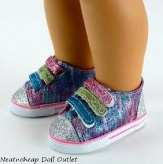 """Rainbow Glitter Sparkle Tennis Shoes Sneakers Fits 18"""" American Girl Doll  #Unbranded"""