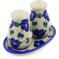 Polish Pottery 5-inch Salt and Pepper Set | Boleslawiec Stoneware | Polmedia H5108F | Polmedia