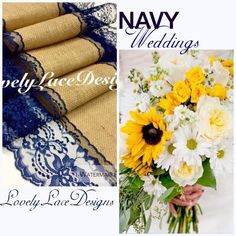 A personal favorite from my Etsy shop https://www.etsy.com/listing/181912064/navy-weddingsnavy-blue-burlap-lace-table