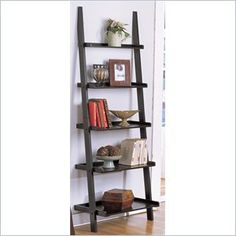 Poundex 5-Tier Wall Shelf in Black - Styled in a unique barrel design, This magazine table collection comes in two colors and feature an upper and lower shelf surrounding its main magazine storage compartment. Features: Item is designed to bring a bit of elegance to any room of your home. Stylish furniture design Some Assembly May Be Required To Install The 5-Tier Wall Shelf (Black).