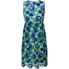 P.A.R.O.S.H. Floral Macramé Dress (£415) ❤ liked on Polyvore featuring dresses, blue, cotton dress, botanical dress, flower pattern dress, blue dress and flower print dress