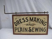 Antique Plain Dress Making Painted Wooden Sign Amish Mennonite Quaker