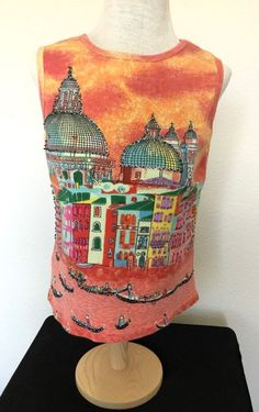 Tank Top Large Beaded Embellished Take Two Venice City Scape Gondola Cotton #TakeTwo #TankCami #Casual