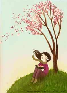 This looks so wonder: outside sitting until a tree reading a great book