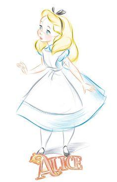 Wallpapers de Alice in Wonderland para Celular - Sweet Magic cartoon sweet Disney Sketches, Disney Drawings, Cute Drawings, Drawing Sketches, Drawing Disney, Disney Princess Sketches, Disney Character Sketches, Princess Alice, Drawing Ideas