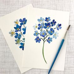 "6,532 Likes, 60 Comments - Mandie • Watercolor Artist (@fairmeadowstudio) on Instagram: ""Round two of forget-me-nots and I still don't have the colors right. It's ok though! I'm up for the…"""