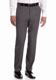 Chaps Gray Classic Fit Flat Front Sharkskin Suit Separate Pants