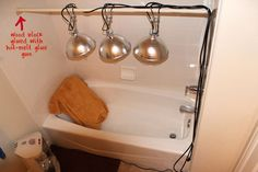 diy-heat-lamp-sauna (Near infrared) Homemade Sauna, Sauna Lights, Infared Sauna, Fascia Blaster, Hot Tub Room, Red Light Therapy, Infrared Heater, Shower Curtain Rods, Diy Greenhouse