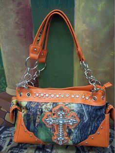 (SALE) Camo Purse with Cross and Orange Trim Please visit us on Facebook & click like, Thanks