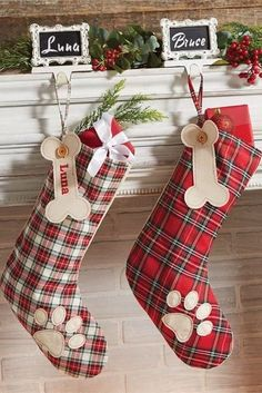 Red Christmas Stocking w// Leopard Print Cuff /& Red Hanging Tag 2, 4, or 8 pk