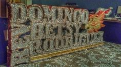Personalized family names in styrofoam cut decorated in glitter or paint